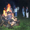 The bonfire is an important part of a Jaanipäev celebration at the Gilby 2001 Centennial.