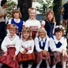 Colourful skirts highlight traditional Estonian clothing. This photo was taken at the West Coast Estonian Days in Portland, Oregon in 1985.
