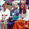 Left to right: Mae Silverton, Lillian Munz, Lea Silverton and Kelly Marshall.Lillian and Kelly are shown wearing ethnic  folk costumes handmade in Estonia. The costumes represent different regions.