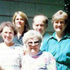 Left to right: Martha MunzGue, Ernie Silverton, Lillian Munz, Shelley (Silverton) Hempstead, Mae (Silverton) Myhre, Albert Munz, Silvia (Silverton) Marshall. Front: Lea (Weiler) Silverton, mother of Mae, Silvia and Ernie. (pictured are seven of the eight grandchildren - all Canadian born - of Lisa and Martin Silberman during reunion in Blaine, Washington State, in the early 1990s).