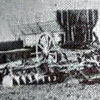 """Pictured is a team pulling a seeder. Martin Silberman farmed with teams of horses from 1906 until the mid-1930s. He hired Estonian bachelors to do the work, some of whom later purchased their own farms. Barons area was known as a """"dry land farming area"""" with grain and livestock predominating as a source of income."""
