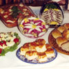 Display of traditional Estonian delicacies, including rosolje, herring, devilled eggs and Rolling Estonian with vodka and cranberry juice, prepared by members of the Edmonton Estonian Society.