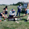 Log sawing is a traditional competition featured at Jaanipäev celebrations in 1992.